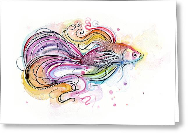 Betta Fish Watercolor Greeting Card by Olga Shvartsur