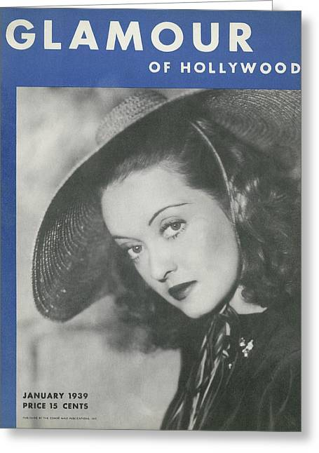 Bette Davis On The Cover Of Glamour Greeting Card by Artist Unknown
