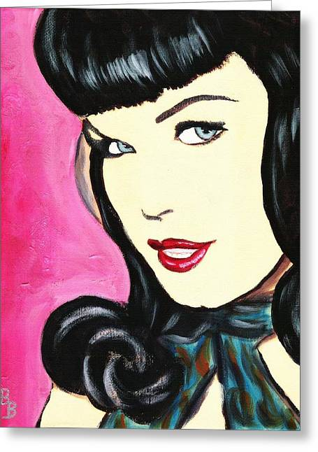 Greeting Card featuring the painting Bettie Page Pop Art Painting by Bob Baker