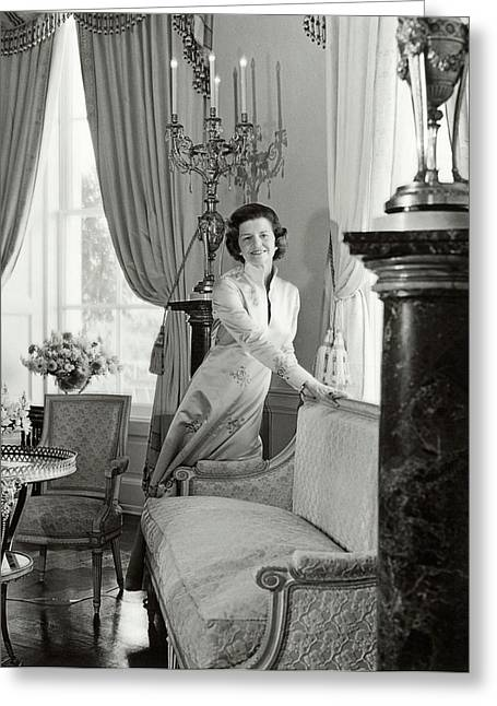 Betty Ford In The Oval Room Of The White House Greeting Card by Horst P. Horst
