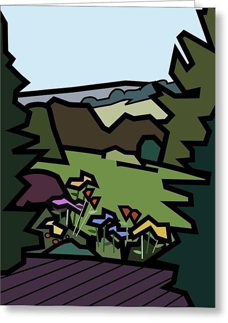 Betty's Garden Greeting Card by Kenneth North