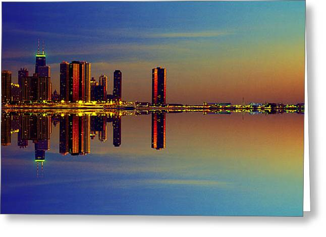 Between Night And Day Chicago Skyline Mirrored Greeting Card