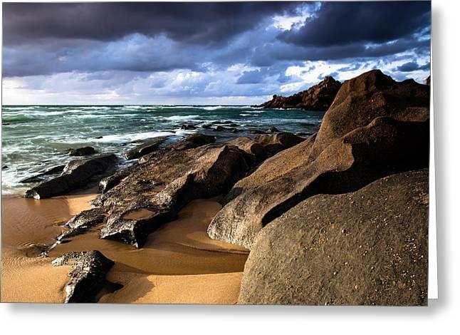 Between Rocks And Water Greeting Card