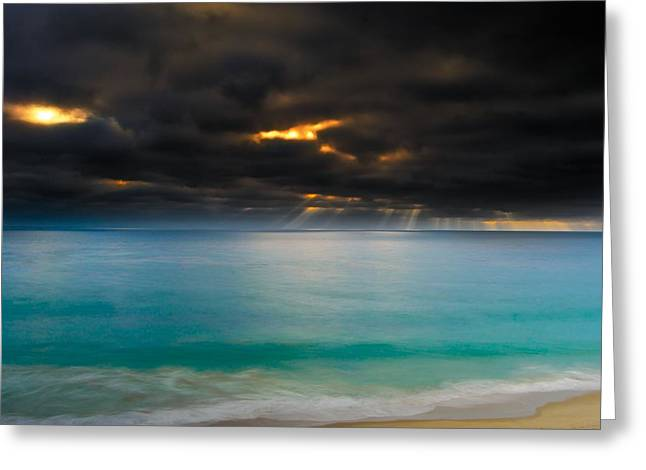 Between Rough Skies And Calm Waters Greeting Card by Adam West