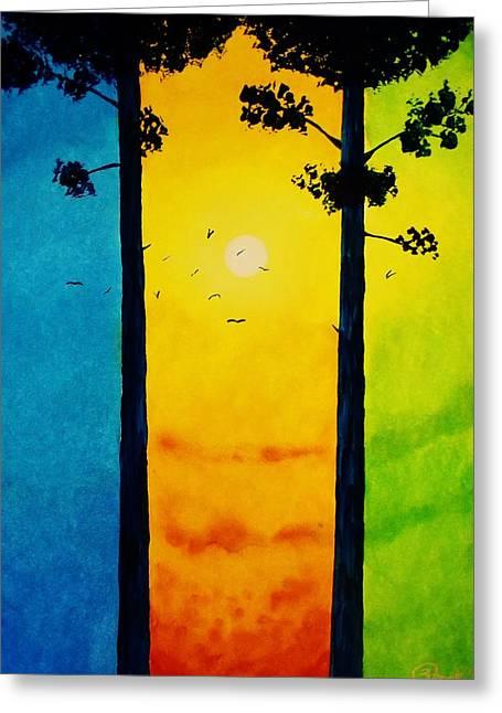 Between The Pines Greeting Card by Kyle  Brock