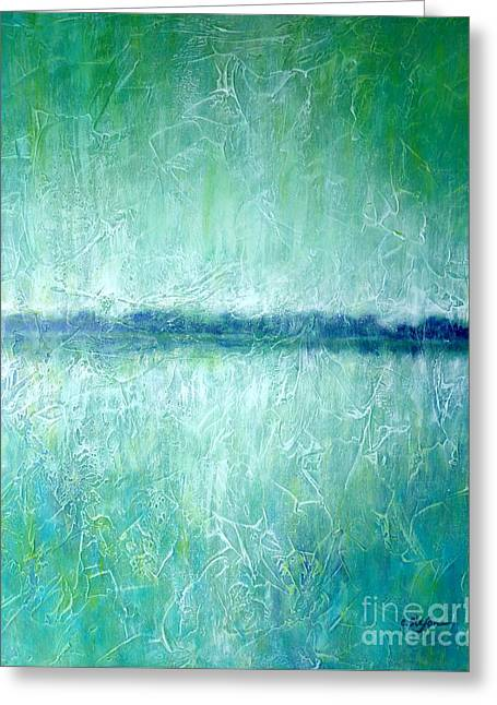 Between The Sea And Sky - Green Seascape Greeting Card