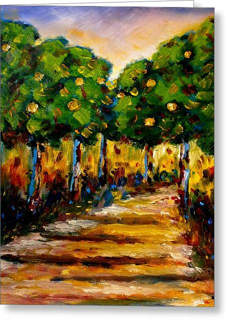 Between The Trees Greeting Card by Constantinos Charalampopoulos