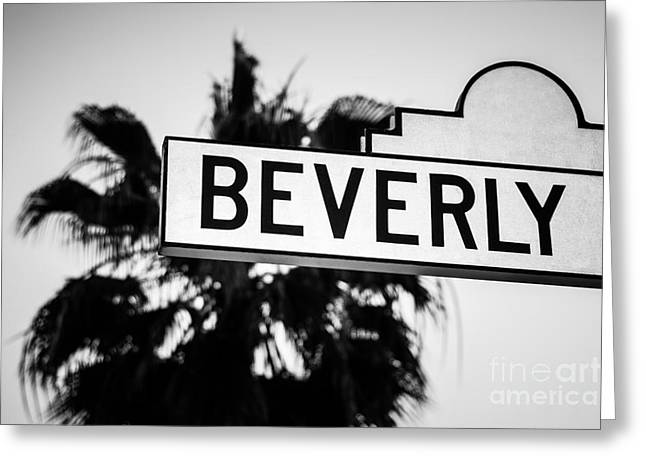 Beverly Boulevard Street Sign In Black An White Greeting Card by Paul Velgos