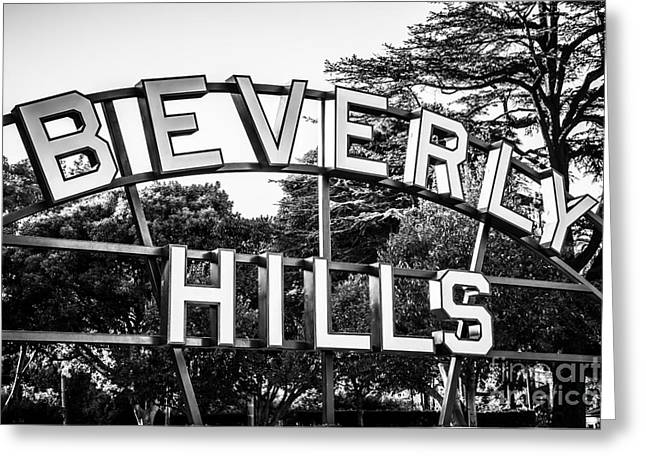 Beverly Hills Sign In Black And White Greeting Card by Paul Velgos