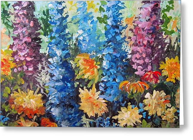 Greeting Card featuring the painting Bev's Garden by Megan Walsh