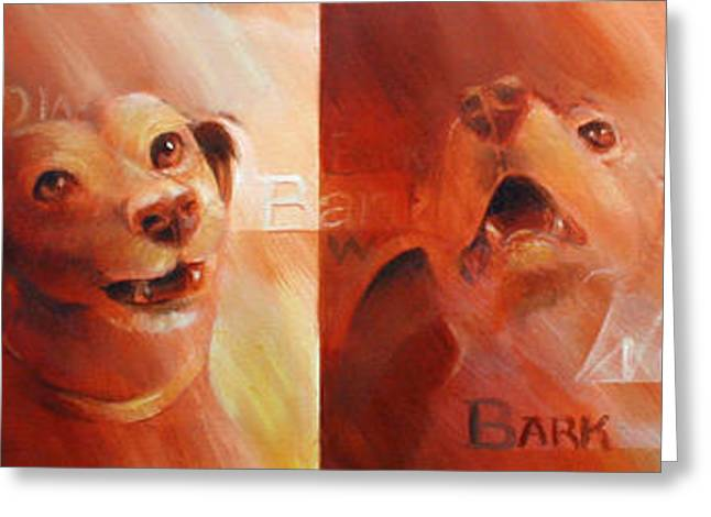 Beware Of Bark Greeting Card by Vanessa Bates