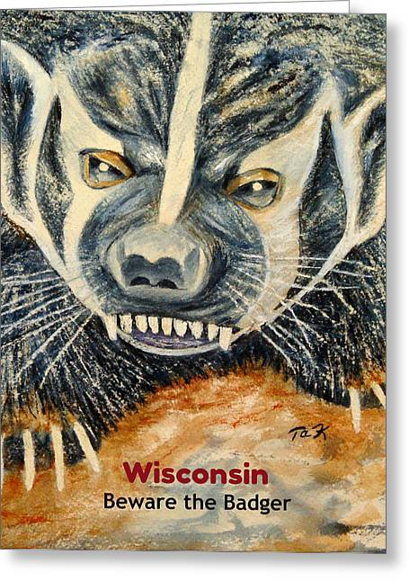 Greeting Card featuring the painting Beware The Badger by Thomas Kuchenbecker