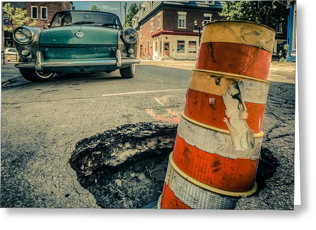 Beware The Pot Holes Greeting Card by Martin New