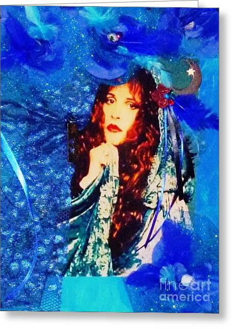 Bewitched In Blue Greeting Card by Alys Caviness-Gober
