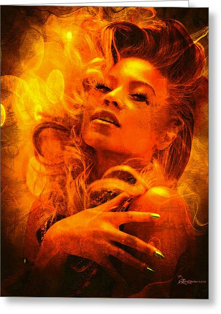 Beyonce Knowles Wrapped In Chocolate - Featured In Comfortable Art Group Greeting Card by EricaMaxine  Price