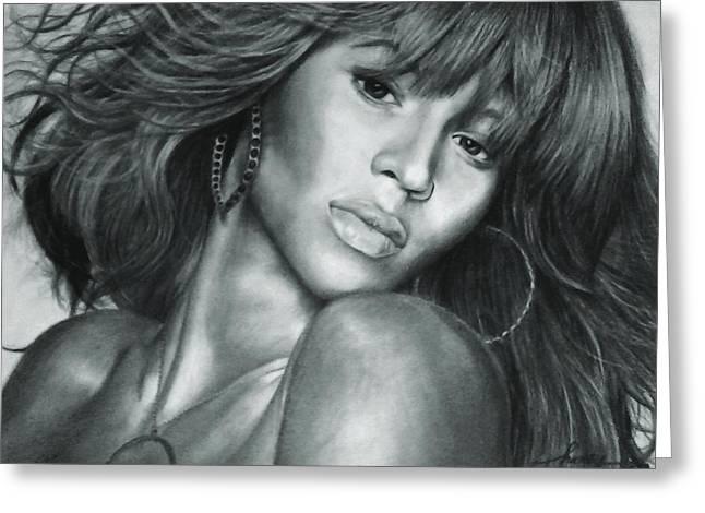 Beyonce Original Pencil Drawing Greeting Card