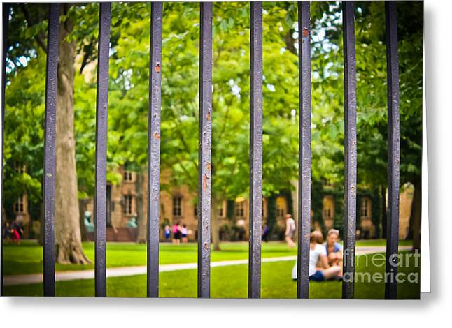 Beyond The Campus Gates Greeting Card by Colleen Kammerer