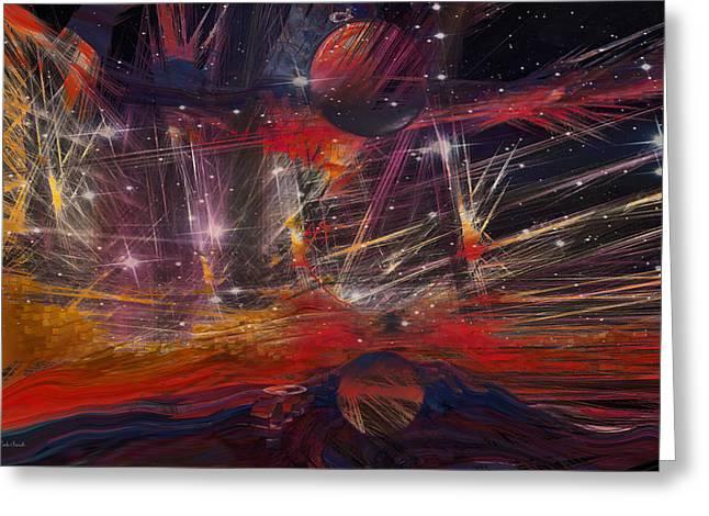 Beyond The Galaxy Walls Greeting Card by Linda Sannuti
