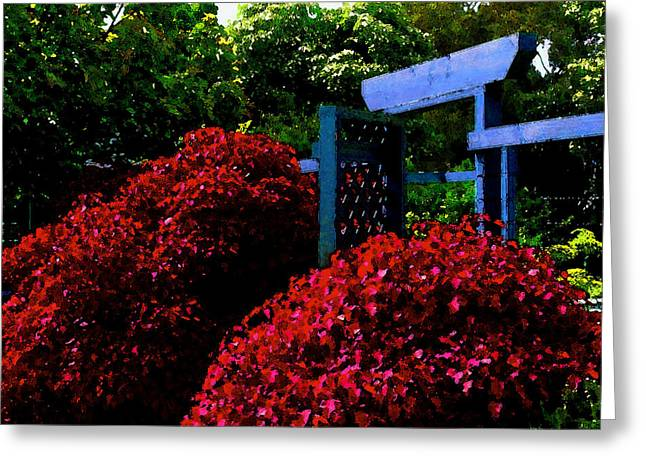 Beyond The Garden Gate Greeting Card by James Temple