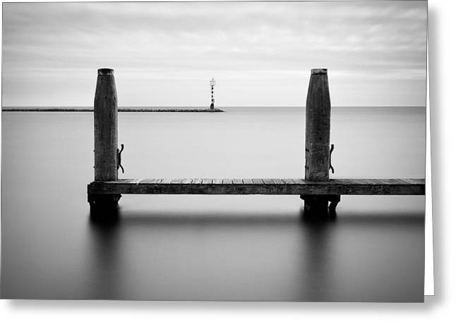 Beyond The Jetty Greeting Card by Dave Bowman