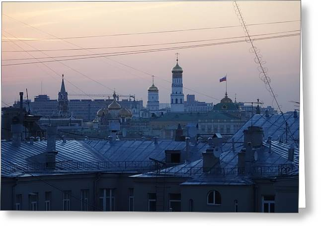 Beyond The Rooftops Greeting Card by Anna Yurasovsky