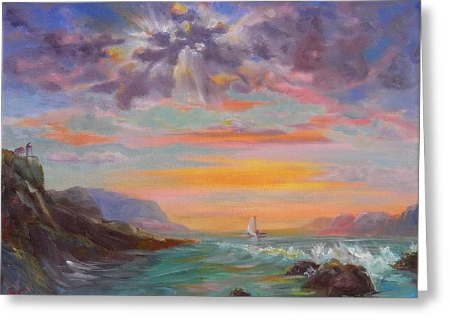 Beyond The Sunset Greeting Card by Sharon Casavant