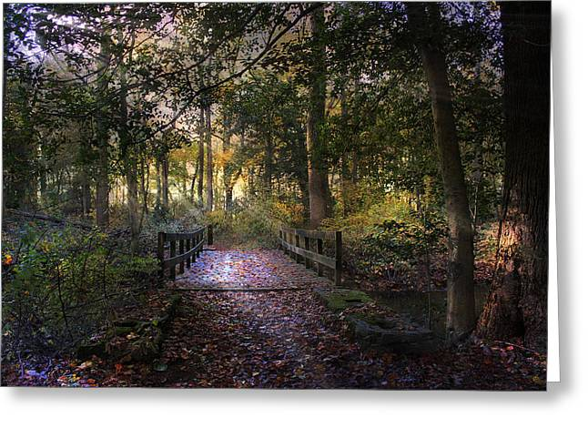 Beyond The Wooden Bridge Greeting Card