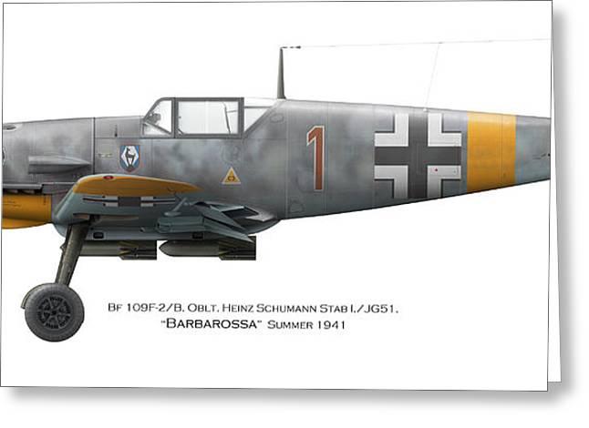 Bf 109f-2/b. Oblt. Heinz Schumann Stab I./jg51. Barbarossa. Summer 1941 Greeting Card