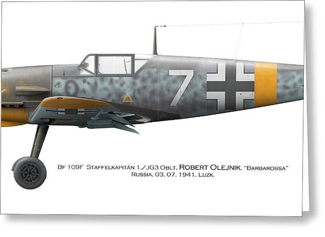 Bf 109f-2. Staffelkapitan 1./jg 3 Oblt. Robert Olejnik. 3 July 1941. Lyzk. Russia. 1941 Greeting Card by Vladimir Kamsky