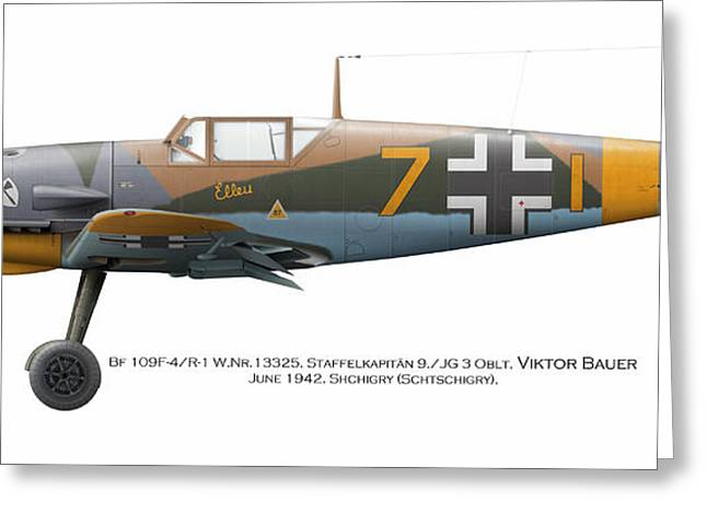 Bf 109f-4/r-1 W.nr.13325. Staffelkapitan 9./jg 3 Oblt. Viktor Bauer. June 1942. Shchigry Greeting Card by Vladimir Kamsky