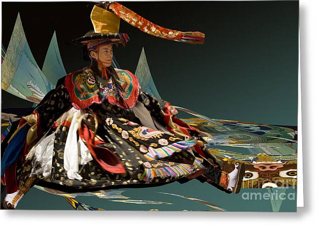 Greeting Card featuring the digital art Bhutanese Dancer by Angelika Drake