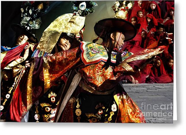 Greeting Card featuring the digital art Bhutanese Dancers by Angelika Drake