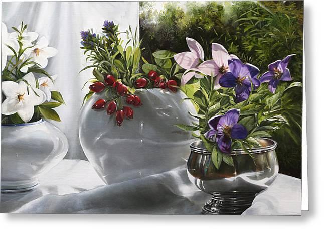 Bianco Rosso E Viola Greeting Card by Danka Weitzen