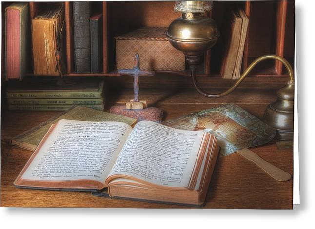 Bible Study By Oil Lamp Greeting Card by David and Carol Kelly
