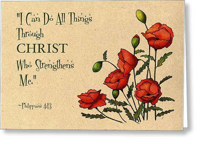 Bible Verse With Poppies Greeting Card by Joyce Geleynse
