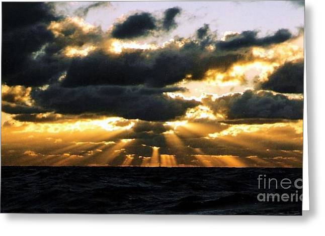 Crepuscular Biblical Rays At Dusk In The Gulf Of Mexico Greeting Card