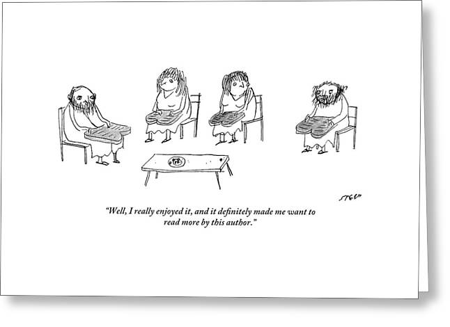 Biblical Scholars Read Tablets Like A Book Club Greeting Card by Edward Steed