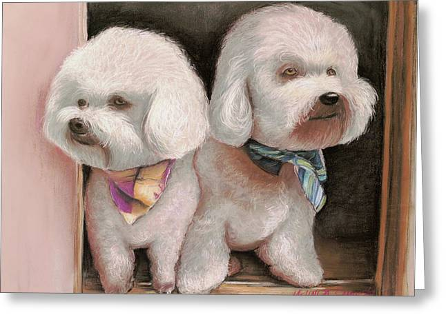 Greeting Card featuring the painting Bichon Frise by Melinda Saminski