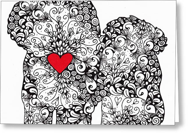 Greeting Card featuring the drawing Bichon Frise by Melissa Sherbon