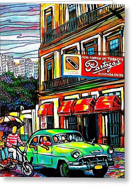Bici Taxis And Almendrones Greeting Card by Arturo Cisneros