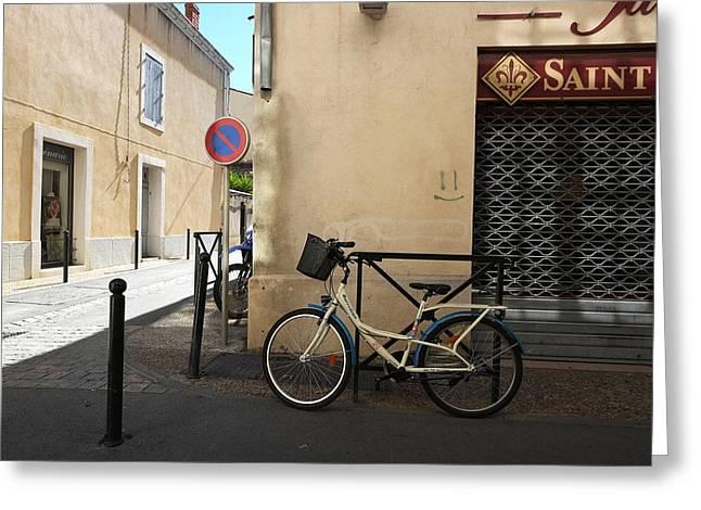Bicycle Aigues Mortes France Greeting Card by John Jacquemain