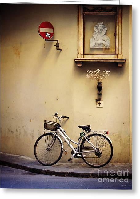 Bicycle And Madonna Greeting Card