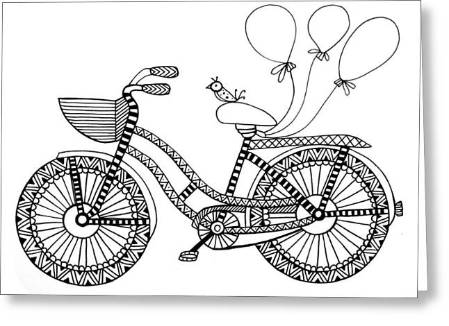 Bicycle Baloons Greeting Card