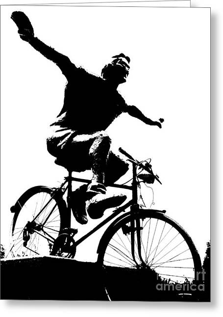 Bicycle - Black And White Pixels Greeting Card