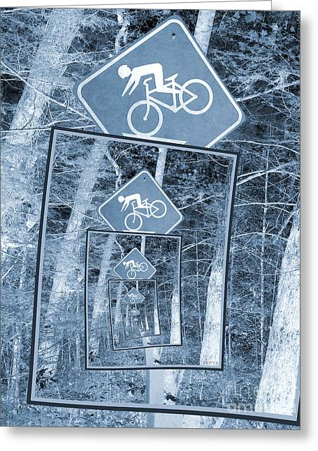 Bicycle Caution Traffic Sign Greeting Card