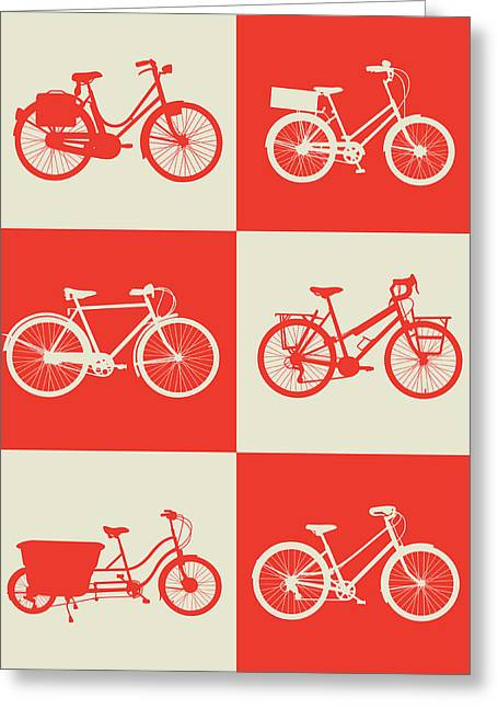 Bicycle Collection Poster 1 Greeting Card by Naxart Studio