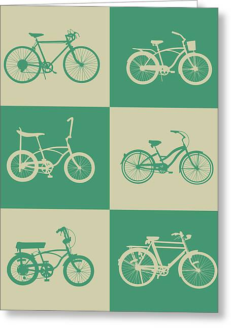 Bicycle Collection Poster 4 Greeting Card by Naxart Studio
