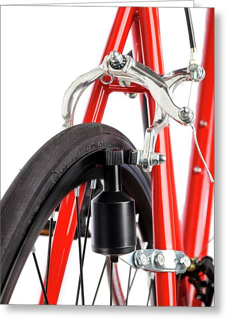 Bicycle Dynamo Fixed To Back Wheel Greeting Card by Science Photo Library
