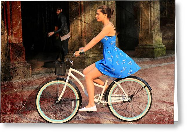 Bicycle Girl 1c Greeting Card by Andrew Fare
