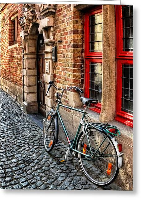 Bicycle In Bruges Greeting Card